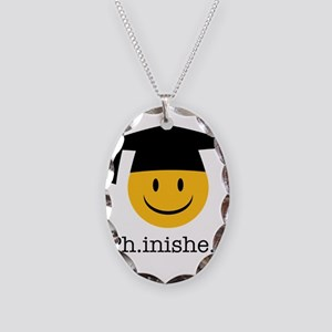 phd smiley Necklace Oval Charm